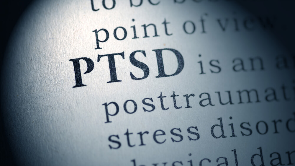 "A close-up photo of a page of a book that says ""PTSD."""