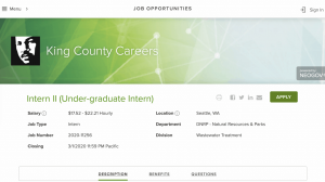 King County Job Information page