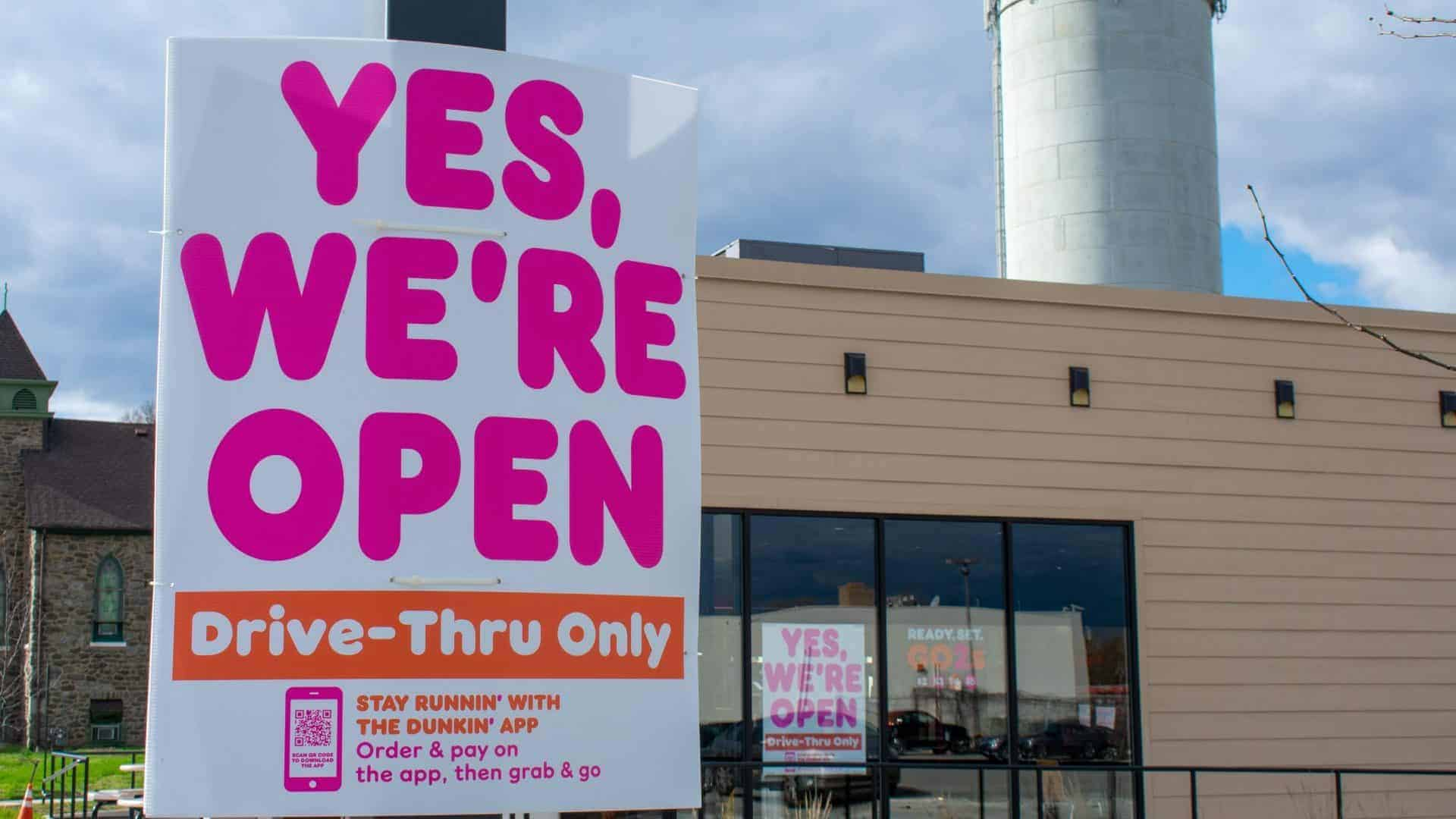 """Sign that says """"Yes we're open, Drive Thru Only"""""""