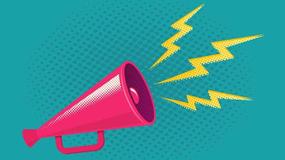 Illustration of a pink megaphone with yellow lightning shaped soundwaves coming out of it, on a teal background.