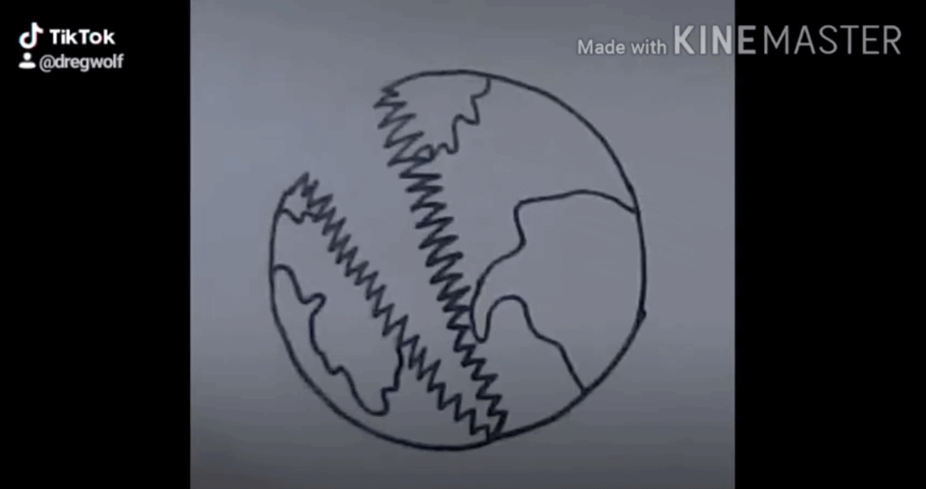 A drawing of the globe with a jagged mouth.