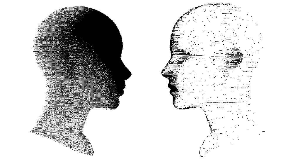Two nondescript drawings of faces, facing one another. One is shaded in with gray and black, the other, is white.