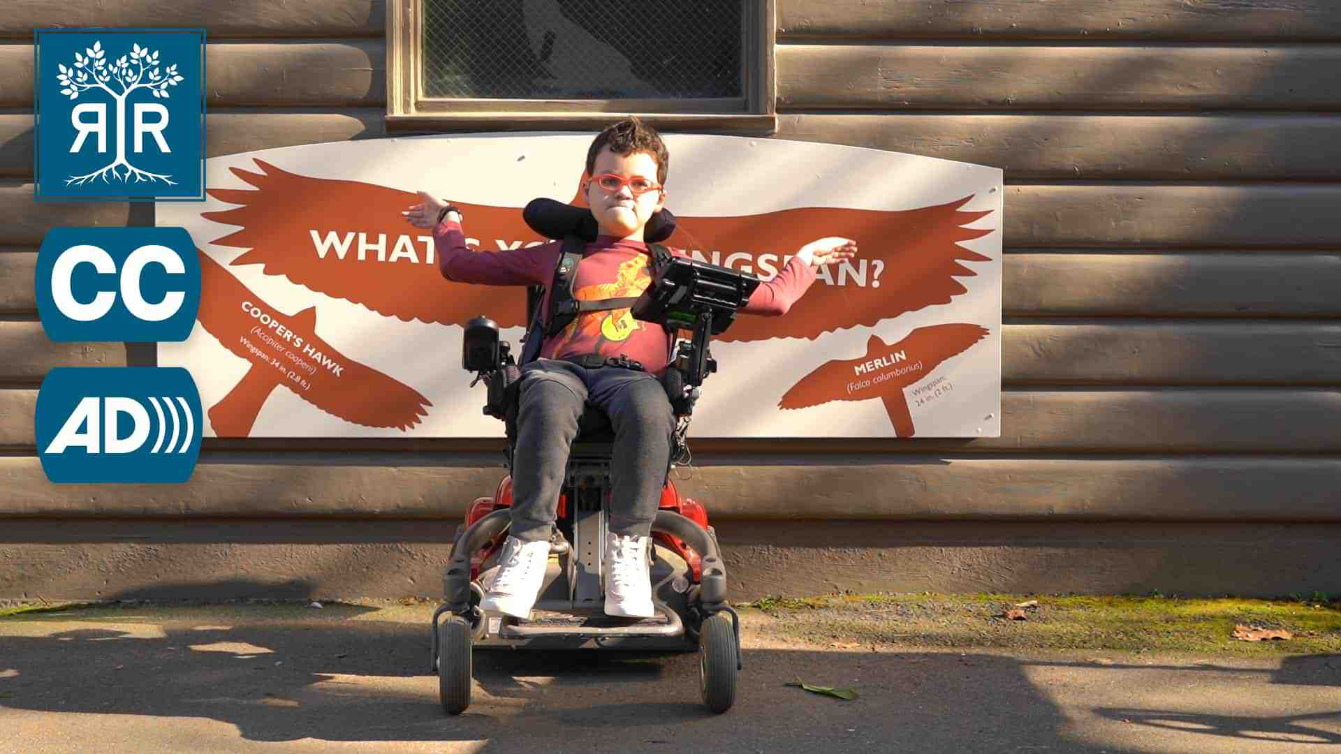 Julian sits in his power chair and raises his arms against a poster of a hawk's wingspan.