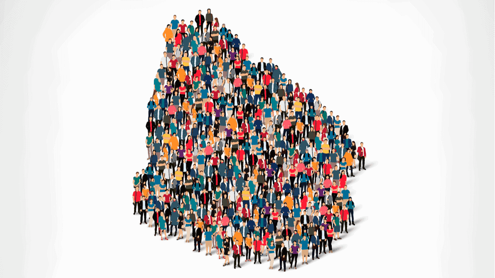 Illustrated people forming the shape of Uruguay
