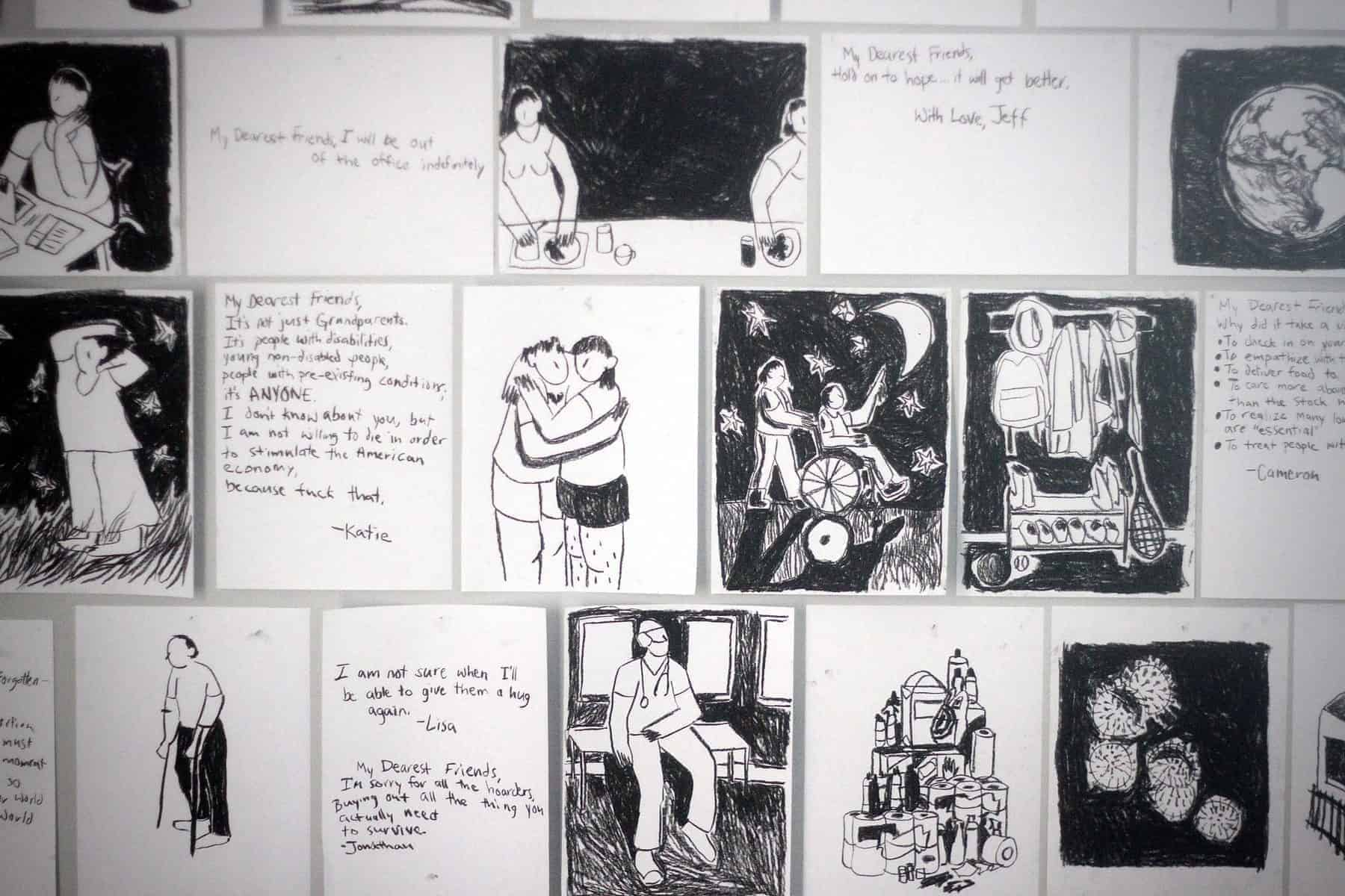 """A white wall is completely covered in 8"""" x 10"""" abstract charcoal drawings. Some of the imagery includes a microscopic view of COVID-19, a pile of hoarded toilet paper, a doctor, a person using forearm crutches, two people hugging, along with various handwritten notes."""
