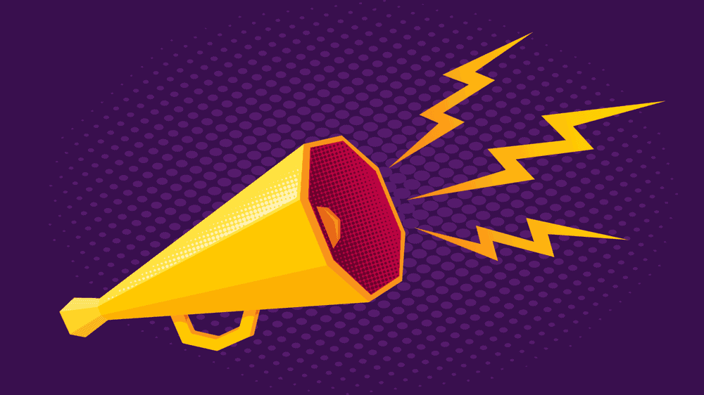A yellow megaphone against a purple background with yellow lightning bolts coming out to indicate sound.