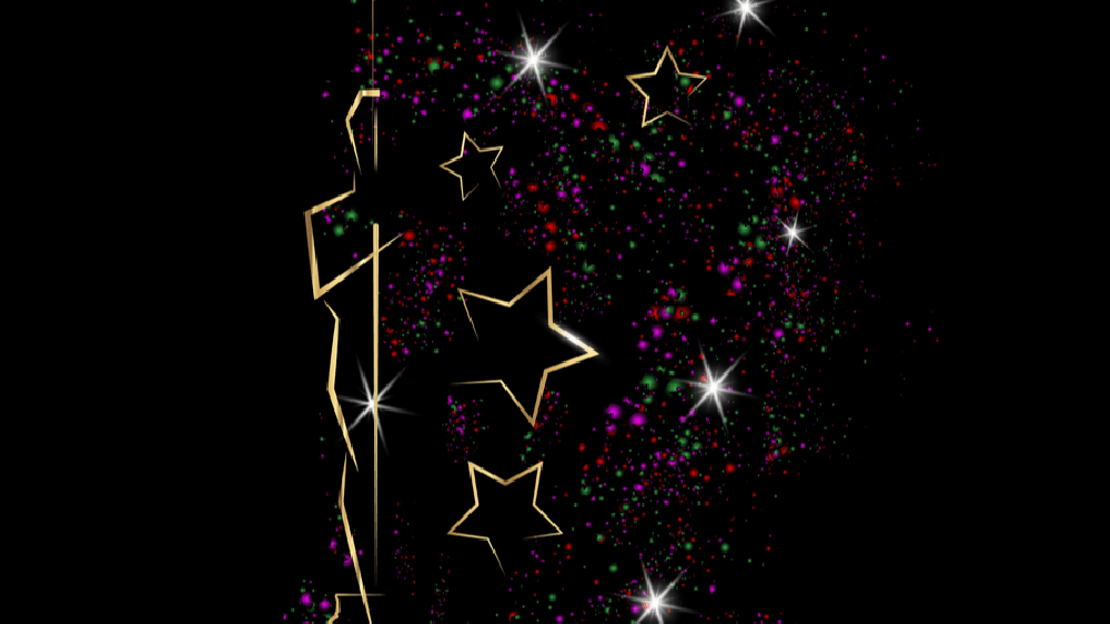 Half of an illustrated outline of an Oscar award, surrounded by gold stars and purple, pink, and green sparkles.