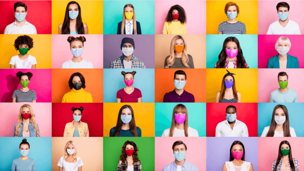 A montage of people of different races against a rainbow of colorful squares, all wearing face masks.